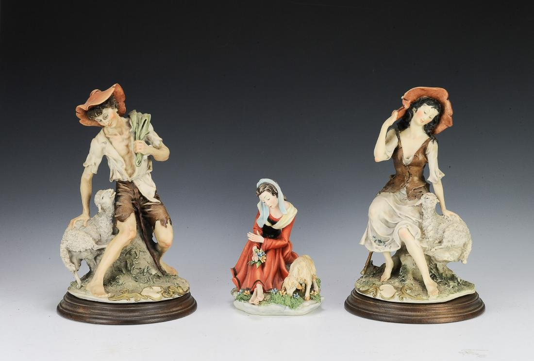 (3) Capodimonte Porcelain Figures with Sheep