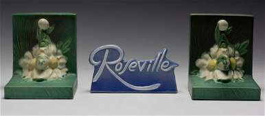 (3) Roseville Pottery Peony Bookends & Dealer Sign
