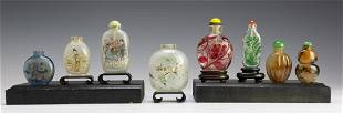 Set of 8 Chinese Agate & Glass Snuff Bottles