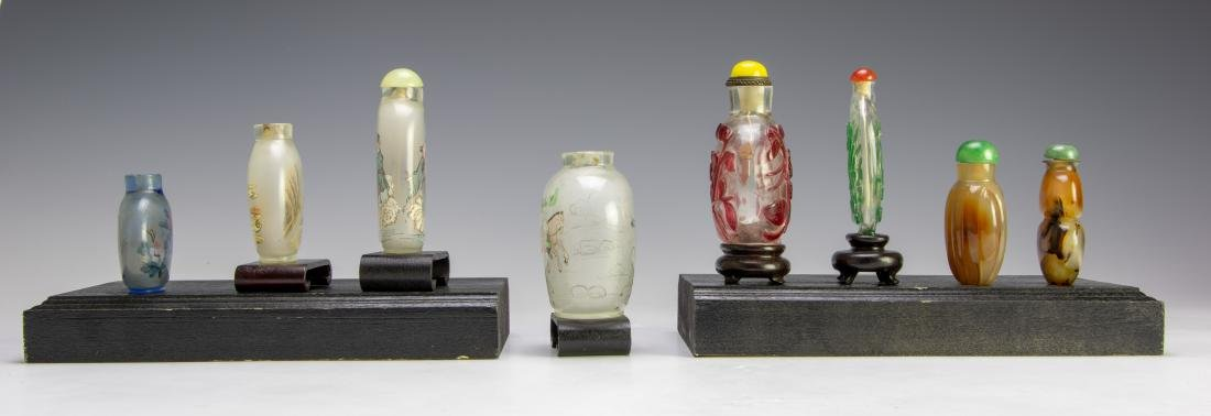 Set of 8 Chinese Agate & Glass Snuff Bottles - 2