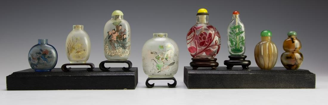 Set of 8 Chinese Agate & Glass Snuff Bottles - 3
