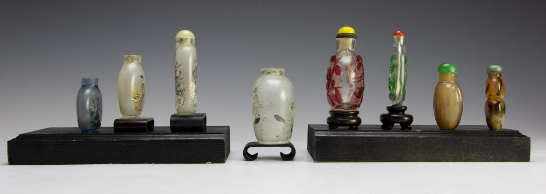 Set of 8 Chinese Agate & Glass Snuff Bottles - 4