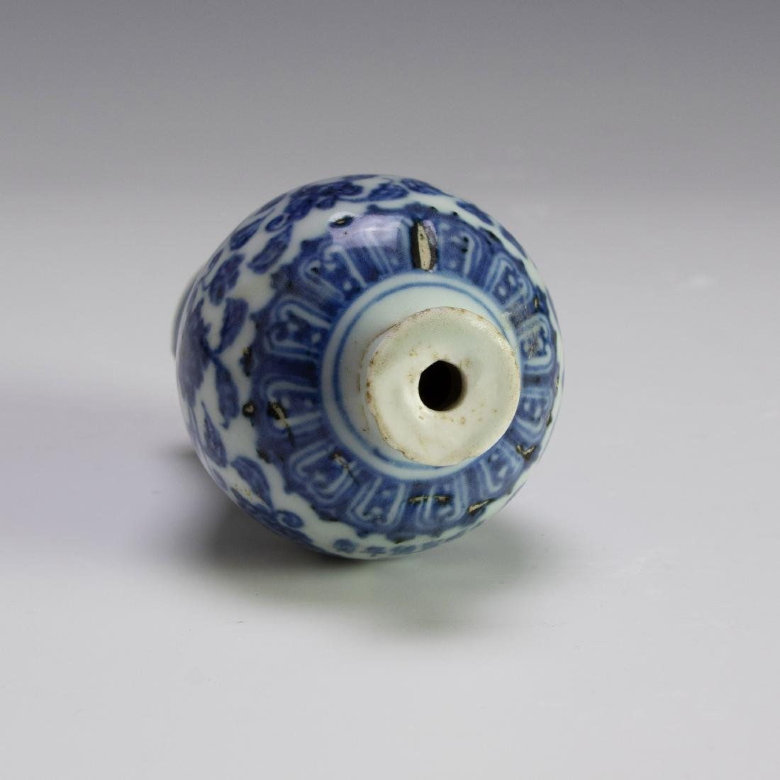 Chinese Blue & White Porcelain Snuff Bottle, 18th C. - 5