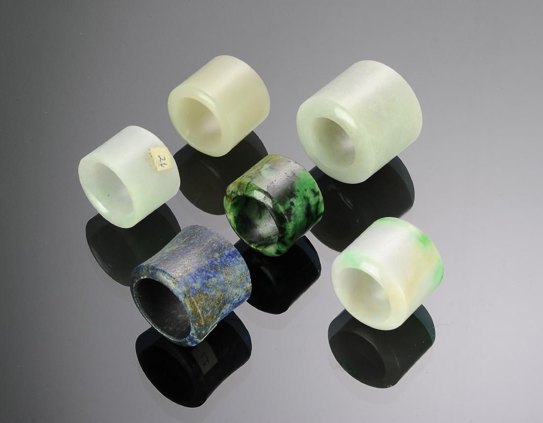 (6) Chinese Jade & Stone Archers Rings 18 - 19 C.