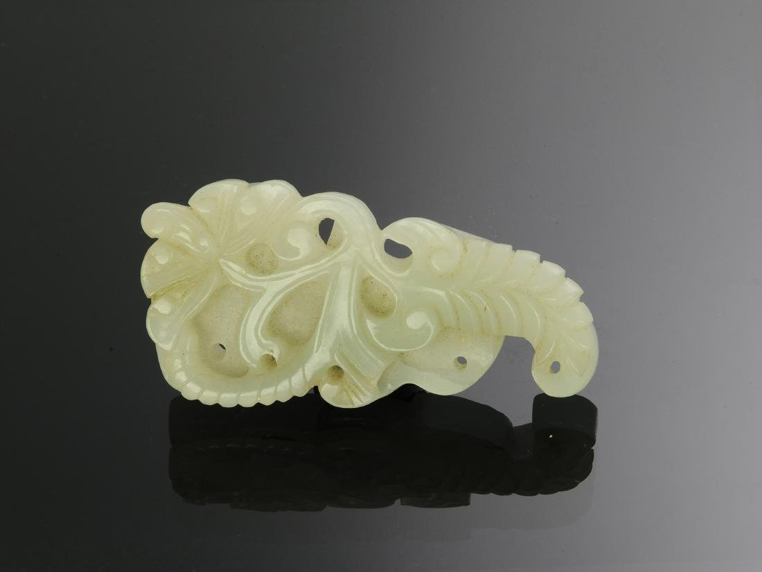 Chinese White Jade Plaque w/ Bat, 18th Century - 2