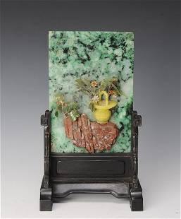 Chinese Jadeite Inlaid Table Screen
