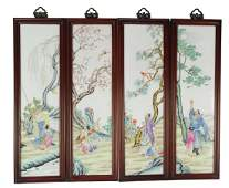 Chinese Set of Famille Rose Plaques of 4 Seasons