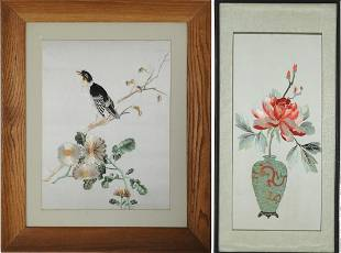 2 Chinese Xiang Needleworks of Flowers