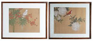 Pair of Framed Chinese Bird Paintings