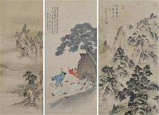 3 Chinese Landscape Scroll Paintings