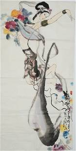 Chinese Painting of a Flying Lady Liu Han