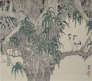 Chinese Painting of Cranes by Chen Xiaonan 1908