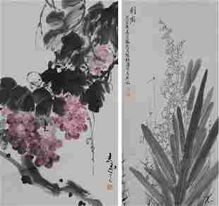 2 Chinese Paintings of a Yucca Grapes