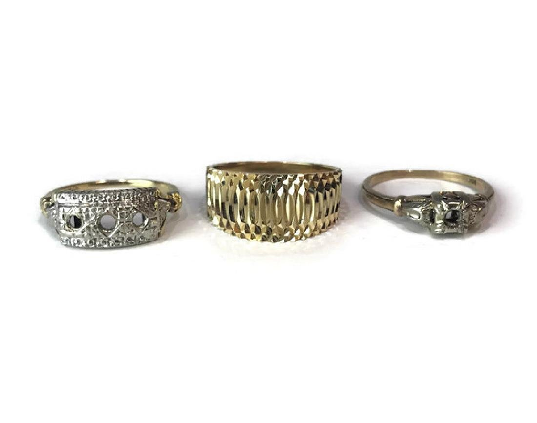 (3) Vintage 14K Yellow and White Gold Rings