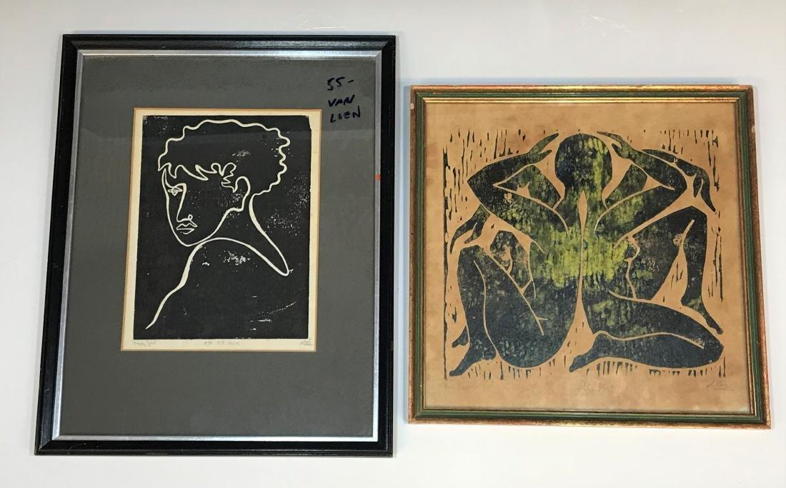 (2) Alfred Van Loen Figurative Block Prints