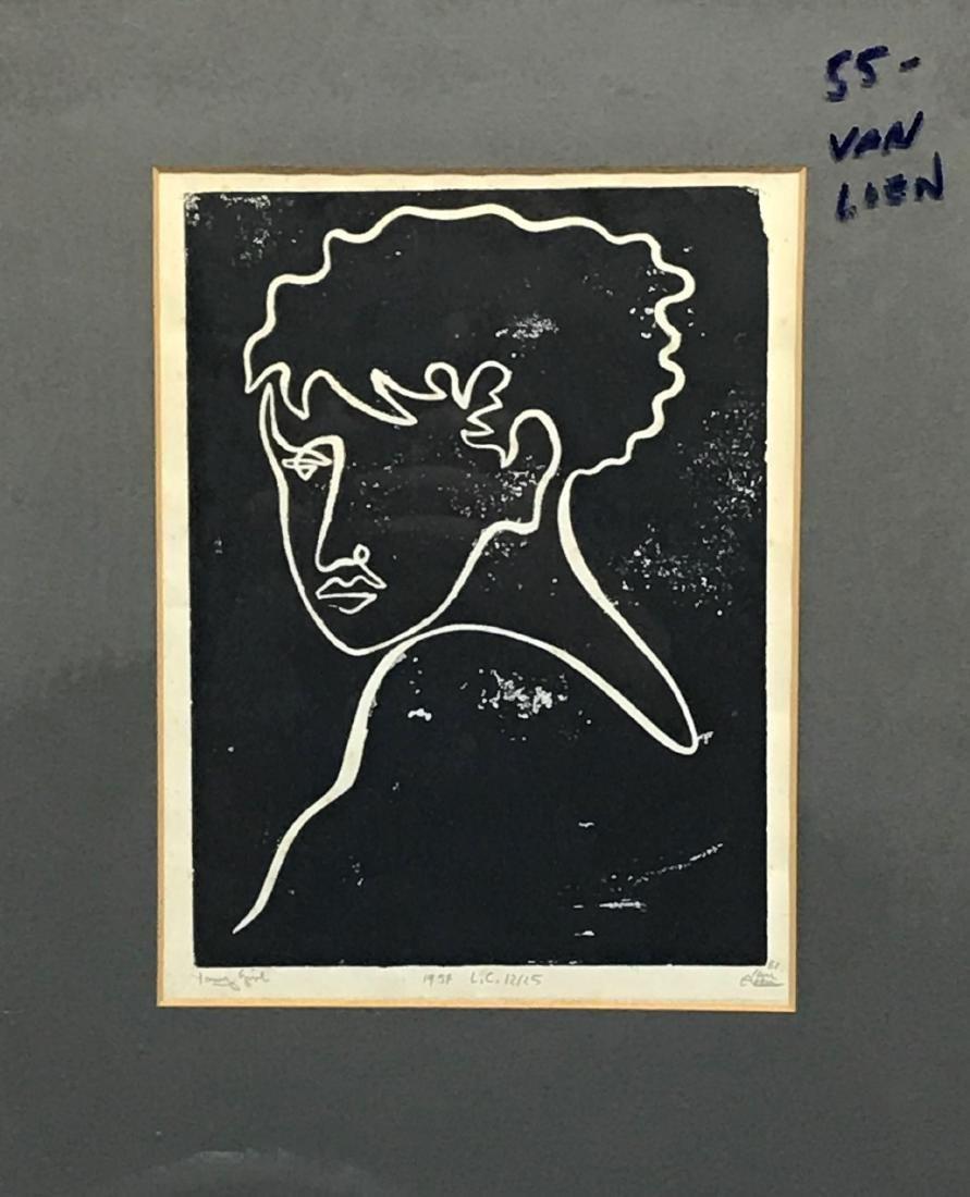 (2) Alfred Van Loen Figurative Block Prints - 2