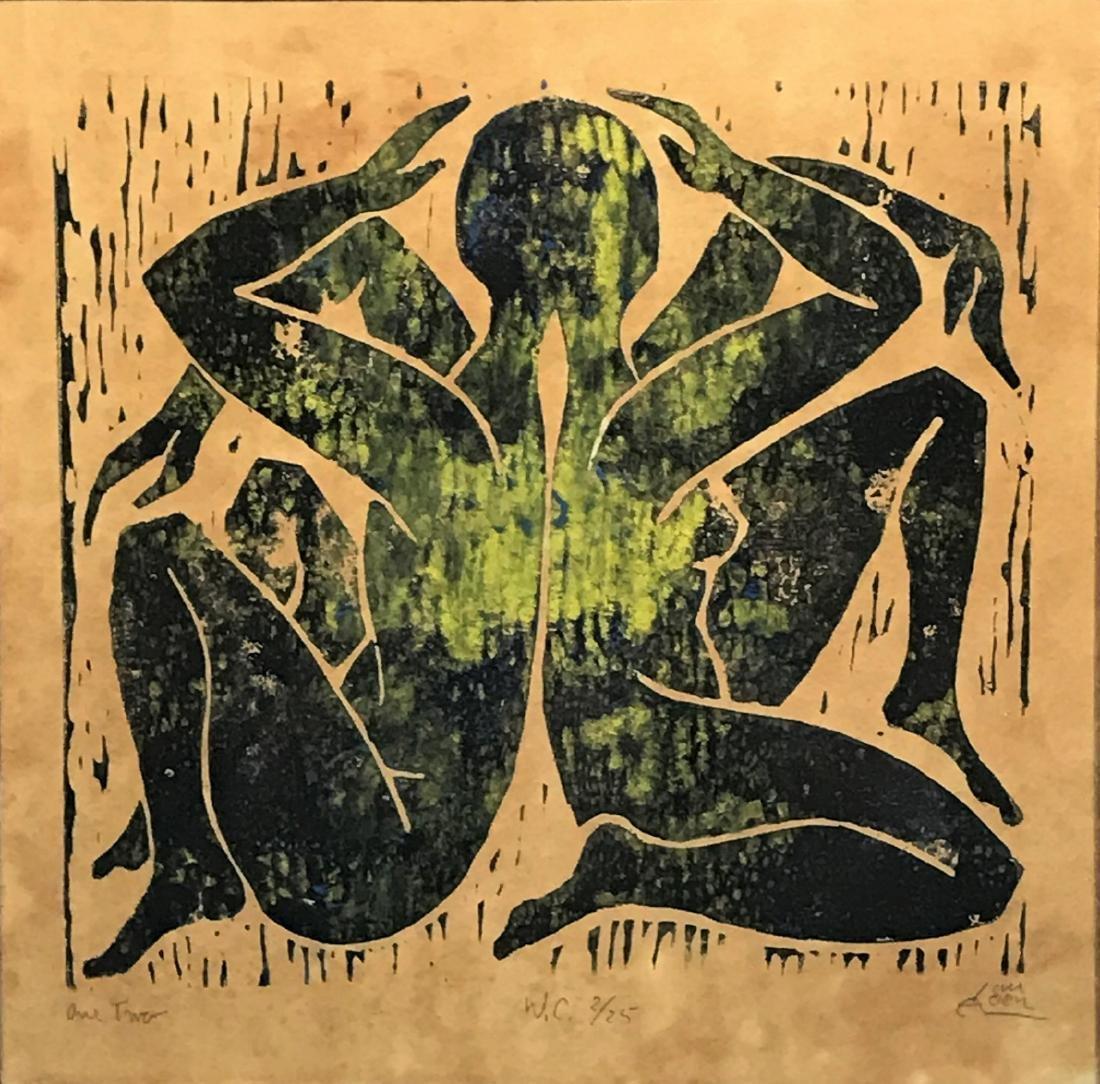(2) Alfred Van Loen Figurative Block Prints - 3