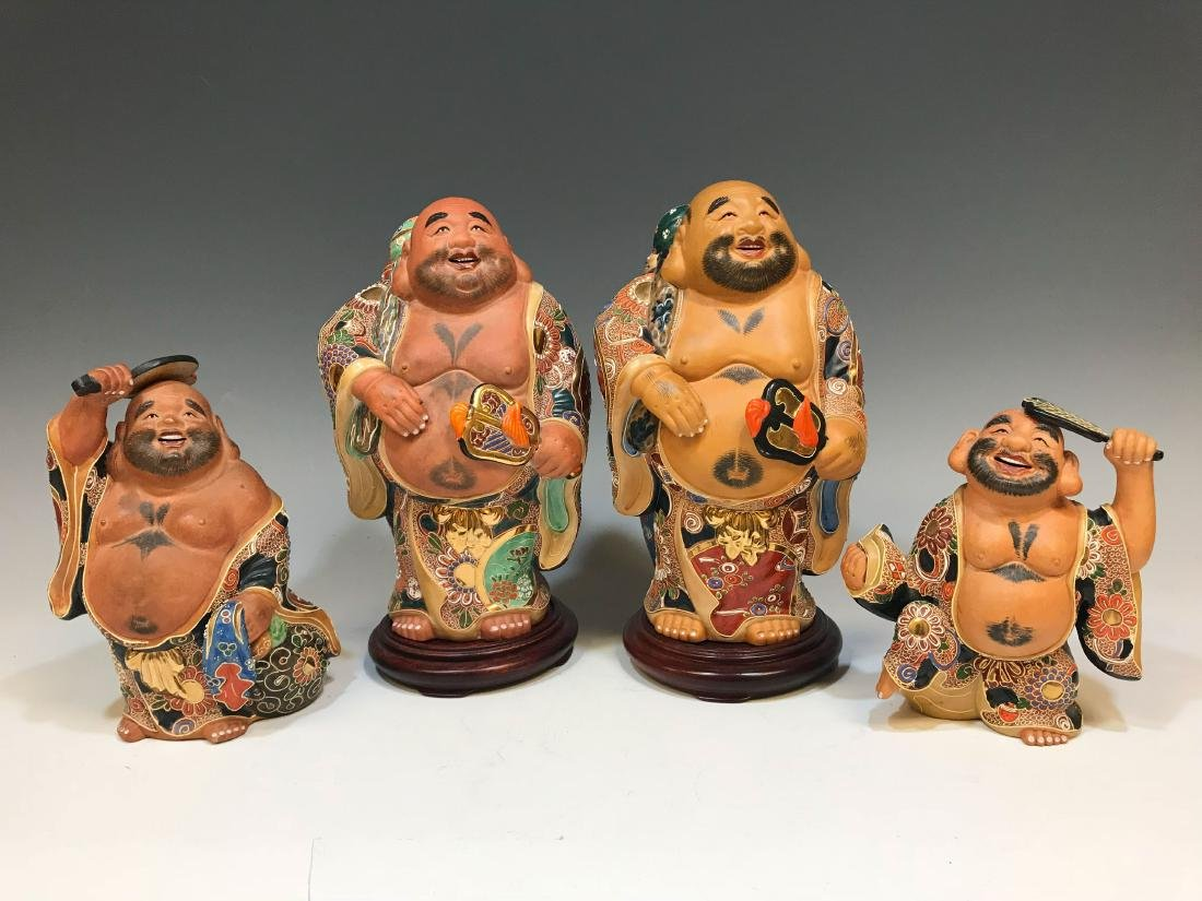 (4) Japanese Satsuma Ceramic Hotei Figures II