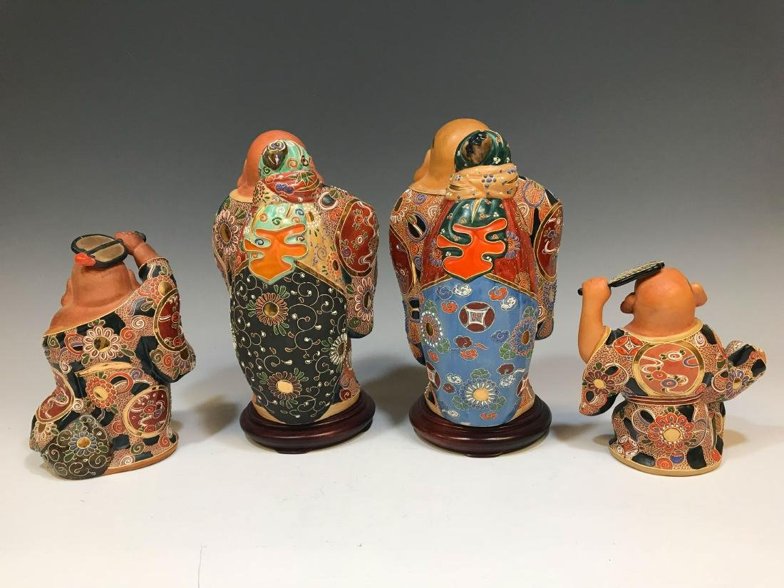 (4) Japanese Satsuma Ceramic Hotei Figures II - 2