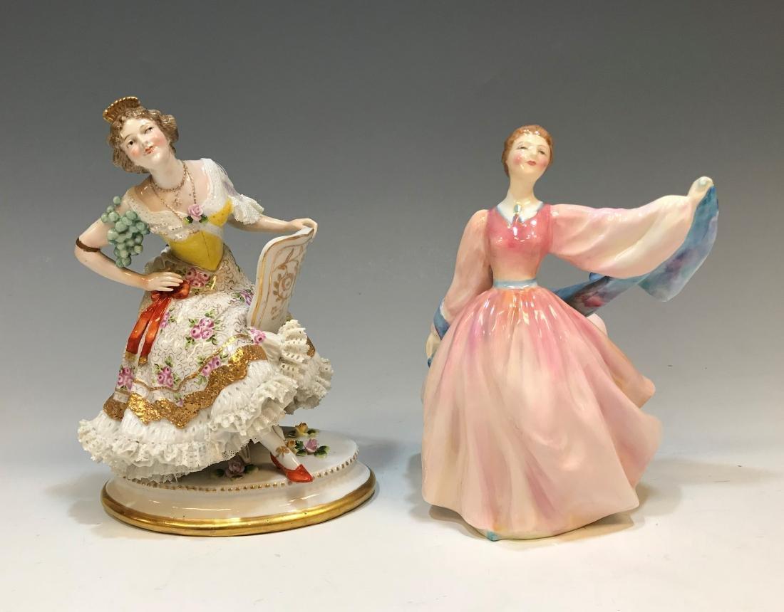 British Royal Doulton Figure & Royal Crown Derby
