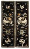 Pair of Chinese Silk Panels w/ Cranes, 18th C.