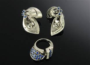 3 Set 14K White Gold Diamond Sapphire