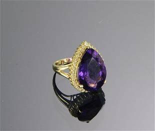 14K Gold Amethyst Diamond Ring
