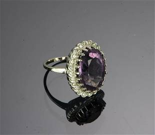 14K White Gold Ring Amethyst and Diamonds