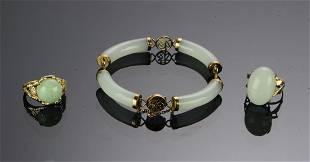 3 Jade 14K Gold Rings 10K Gold Bracelet