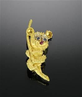 18K Gold Diamond Ruby Sapphire Koala Pin