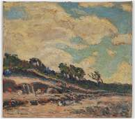 Francis F Brown Oil Board Painting Ohio River