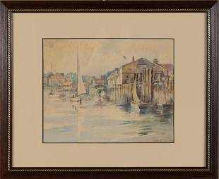 Fred S Cozzens Watercolor Painting Nautical