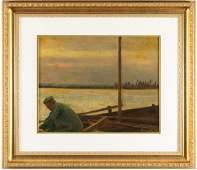 Marc Aurele SuzorCote Nautical Oil Painting