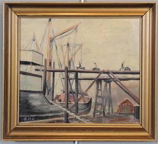 Att Henry Curtis AHL Oil Painting Marine Docks