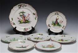 (7) Luneville French Faience Chinoiserie Plates