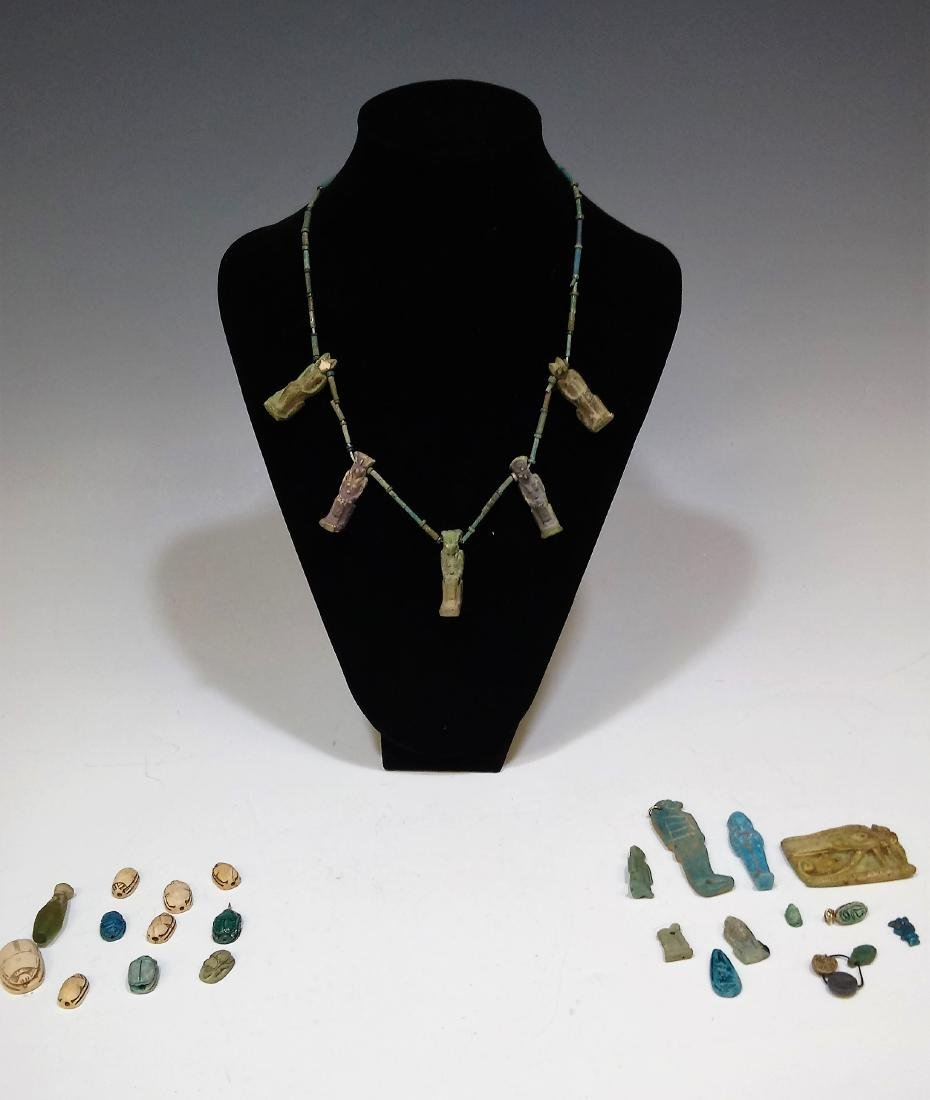 22 Pcs Egyptian Blue Faience, Glass, and Bone