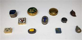 Group of 11 Snuff and Pill Boxes