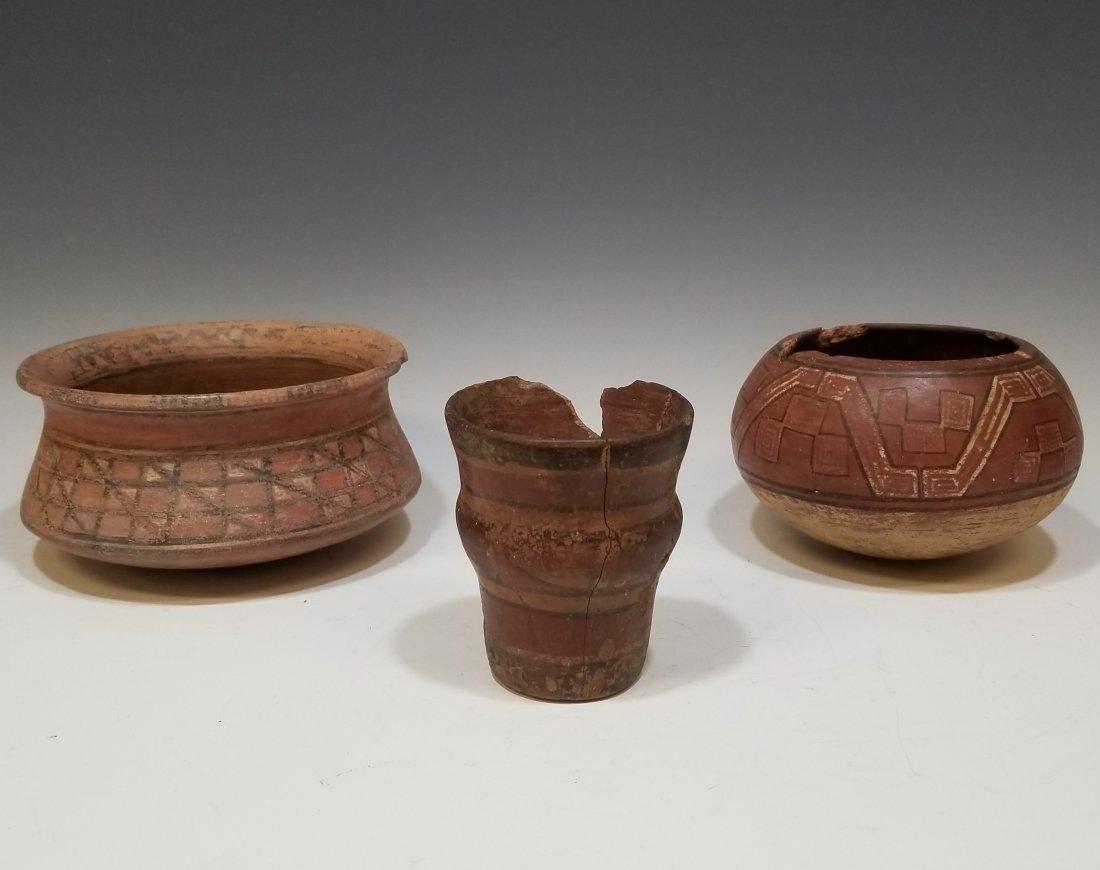 (3) Pre-Columbian Inca Ceramic Bowls & Cup
