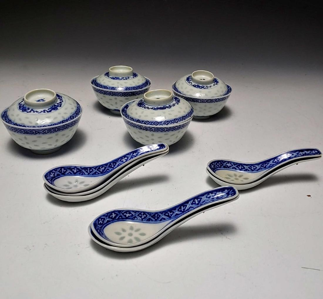 (11) Chinese Porcelain Blue Rice Bowls & Spoons