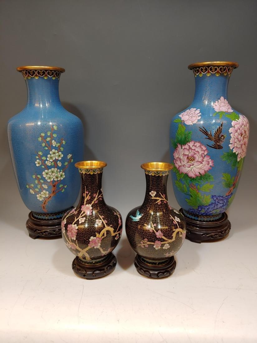 (4) Chinese Cloisonne Flower & Bird Vases