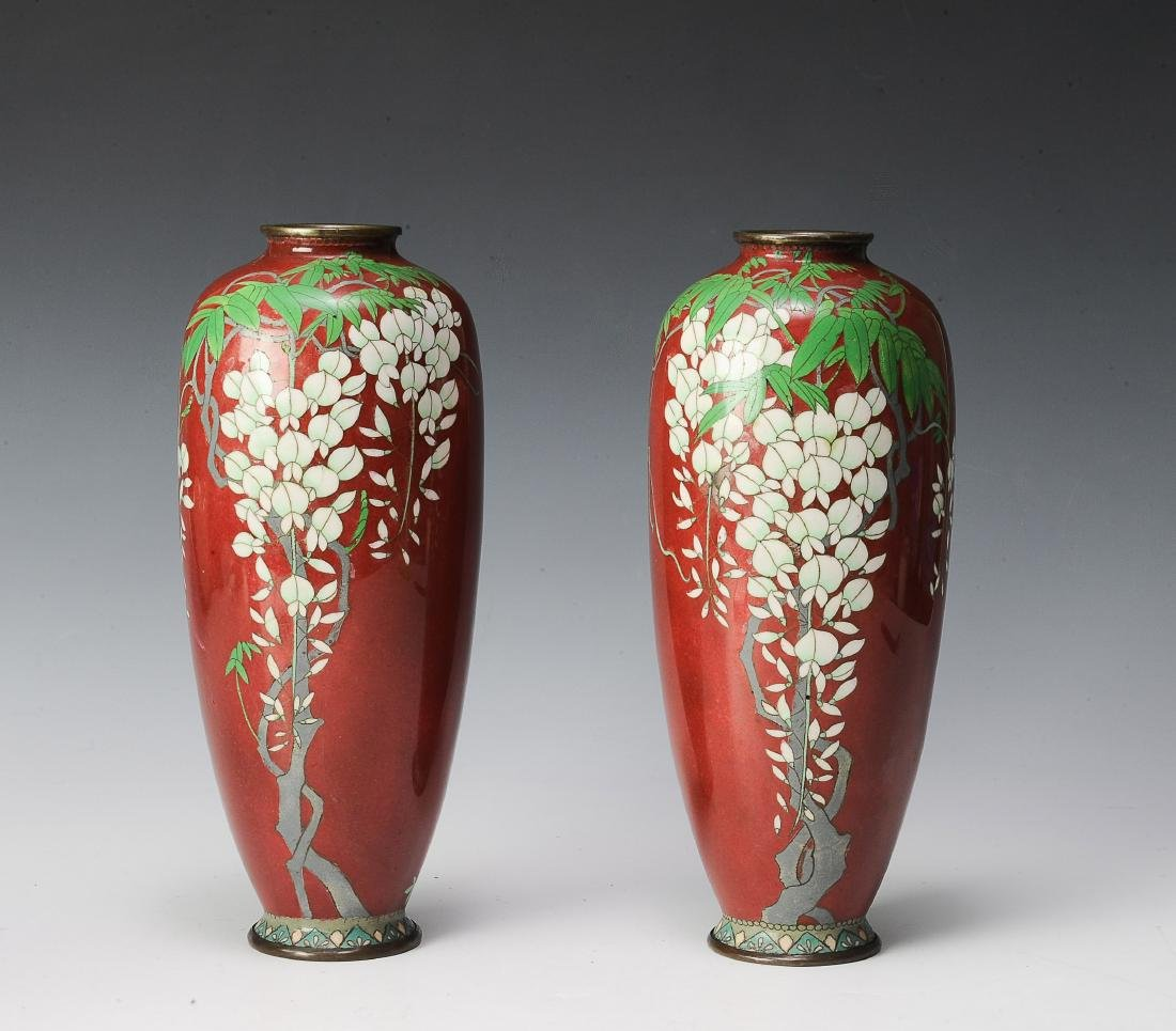 Pair of Bronze & Pair of Cloisonne Vases, Japanese
