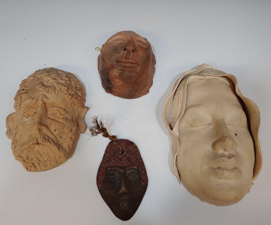 (4) Art Pottery, Ceramic, Plaster Heads & Masks