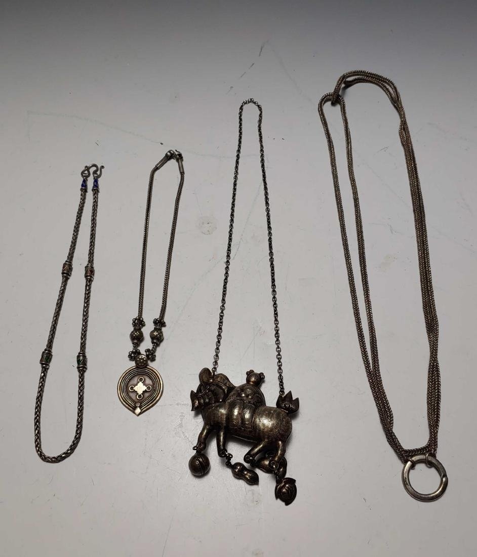 (4) Coin Silver Mythical Beast Necklace and Ropes