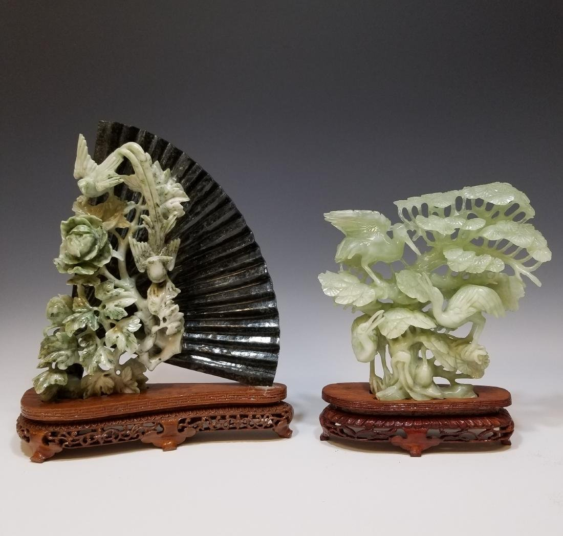 (2) Chinese Jade and Stone Bird Carvings W/ Stands