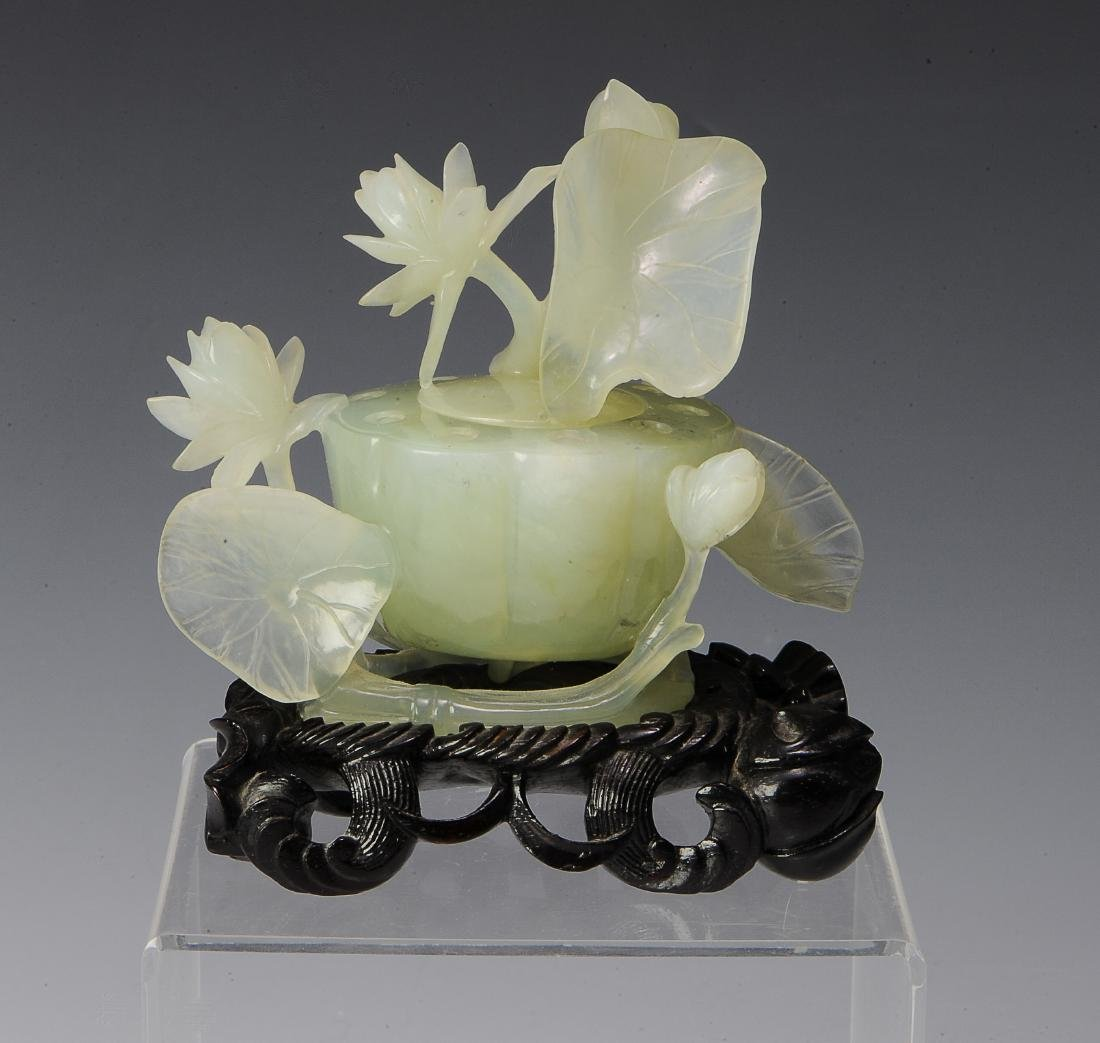Chinese Carved Jade Lotus Bowl w/ Lid & Stand