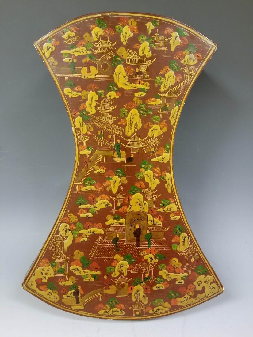 Chinese Lacquer Wood Box Figurative Decoration