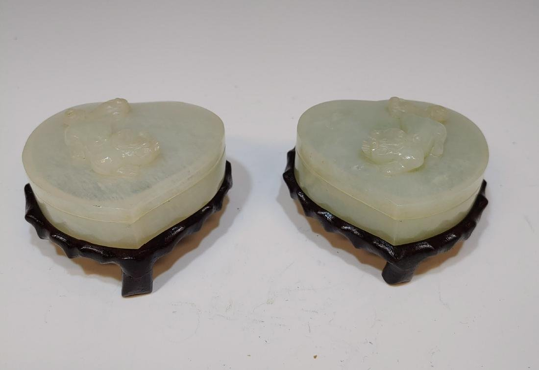 (2) Chinese Jade Heart & Chilong Boxes w/ Stands