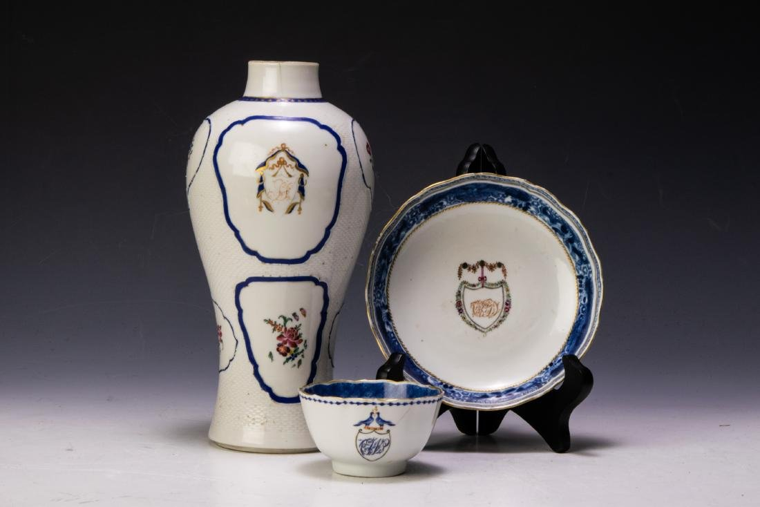 (3) Chinese Armorial Porcelain: Vase, Cup, Plate