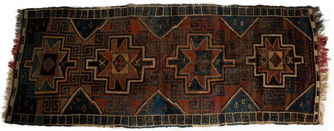 Antique Kurdish Hand Woven Wool Carpet Runner