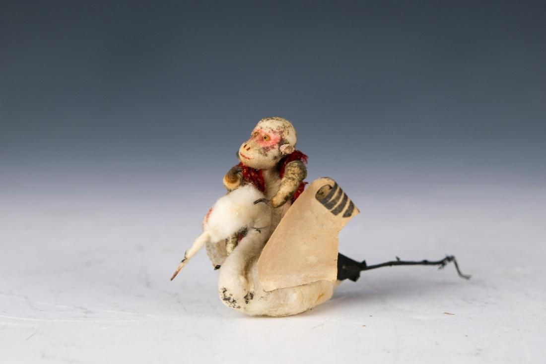 Spun Cotton Christmas Ornament Monkey on Stork